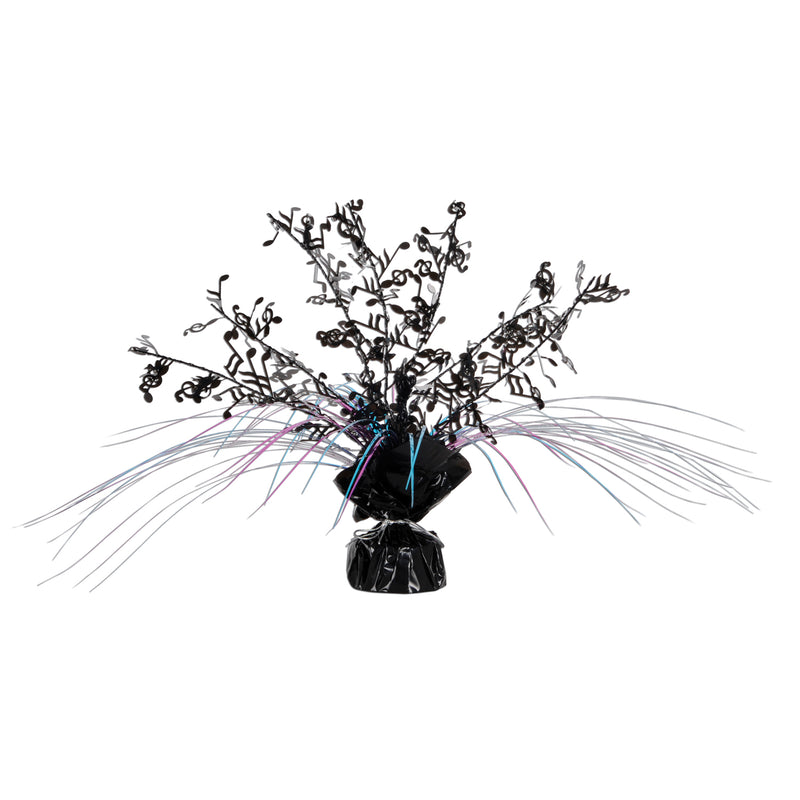 Musical Notes Gleam 'N Spray Centerpiece, black, cerise, turquoise by Beistle - Music Theme Decorations