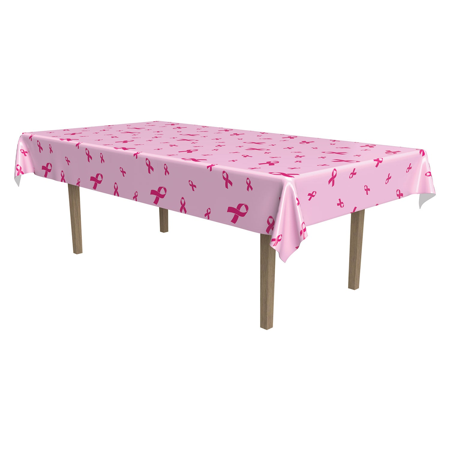 Pink Ribbon Tablecover by Beistle - Pink Ribbon Theme Decorations