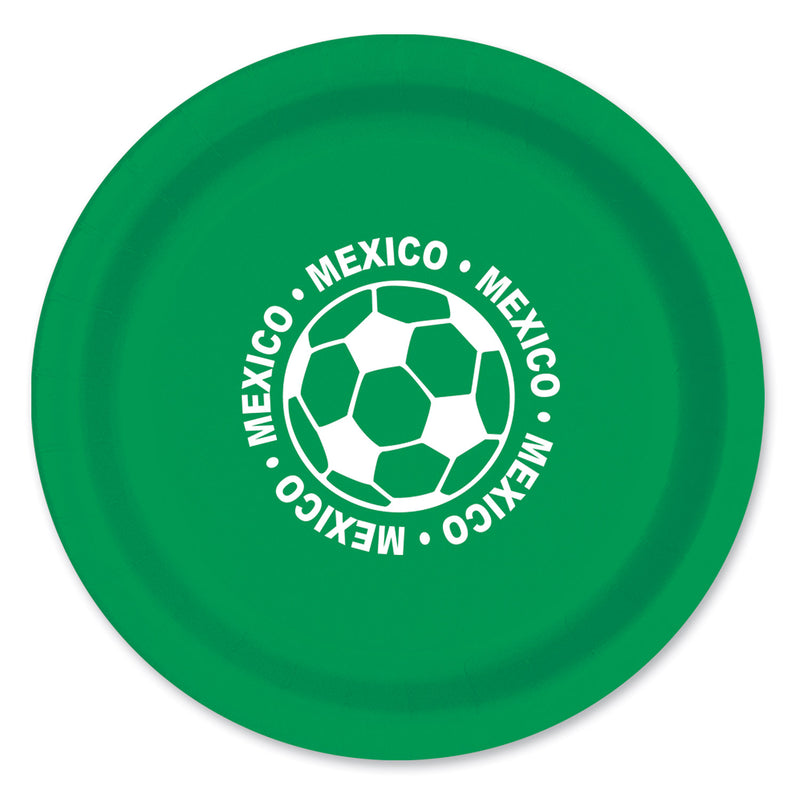 Plates - Mexico (8/Pkg) by Beistle - Soccer Theme Decorations