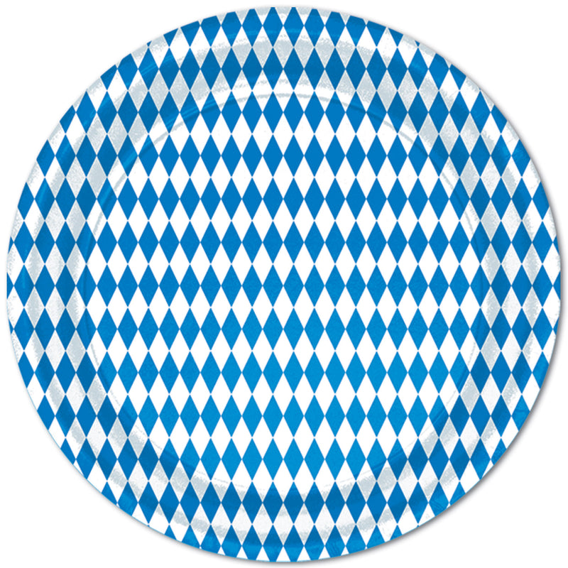 Blue & White Plates (8/Pkg) by Beistle - Oktoberfest Theme Decorations