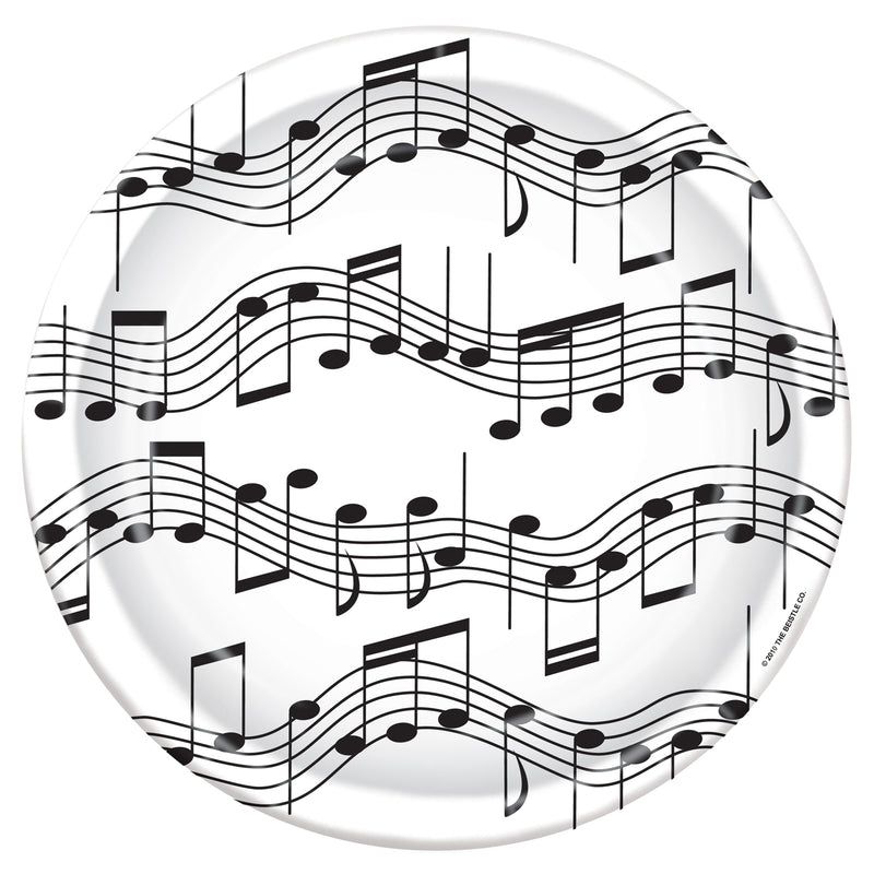 Musical Notes Plates (8/Pkg) by Beistle - Music Theme Decorations