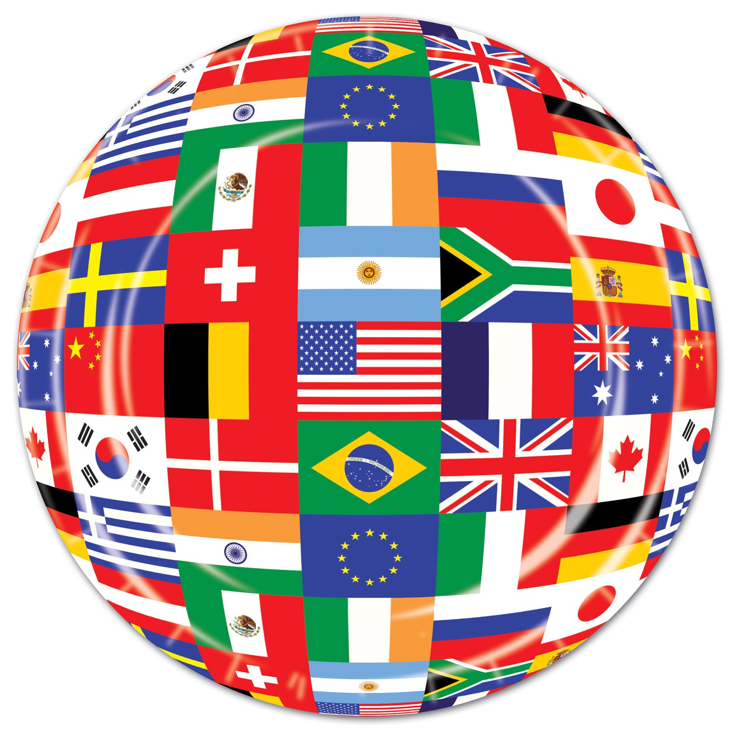International Flag Plates (8/Pkg) by Beistle - International Theme Decorations