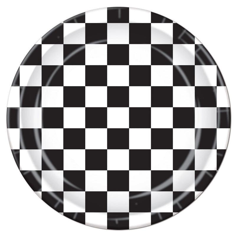 Checkered Plates (8/Pkg) by Beistle - Racing Theme Decorations