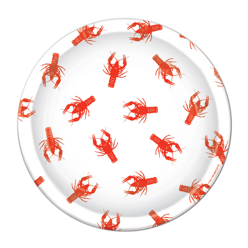 Crawfish Plates (8/Pkg) by Beistle - Mardi Gras Theme Decorations