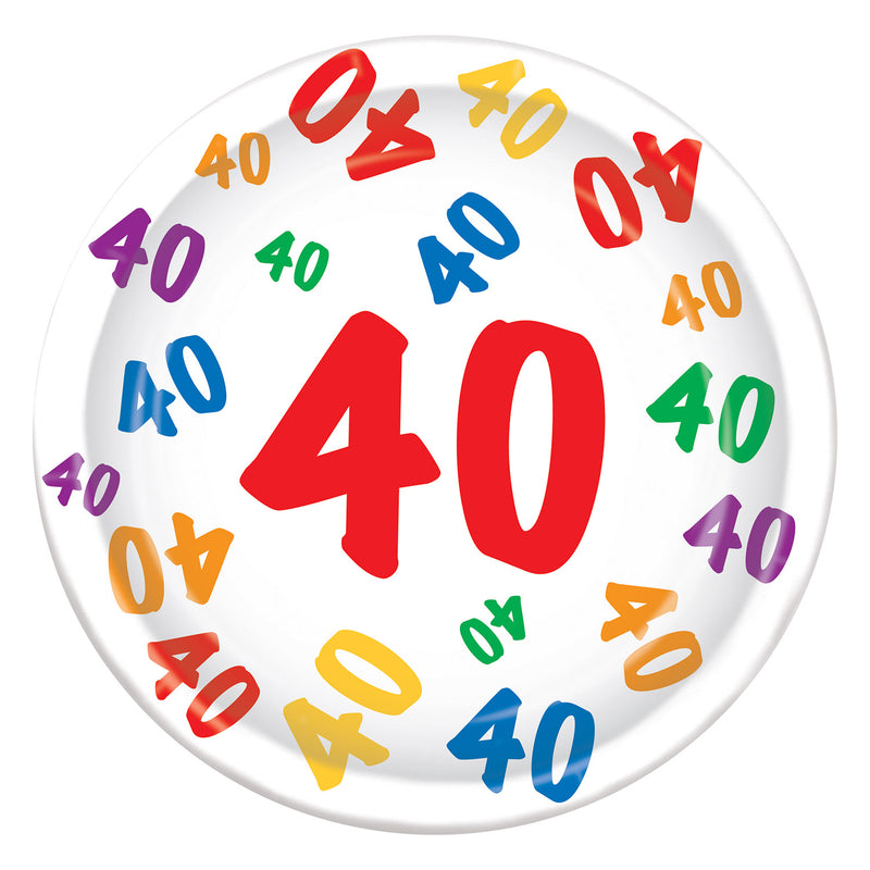 40 Plates (8/Pkg) by Beistle - 40th Birthday Party Decorations