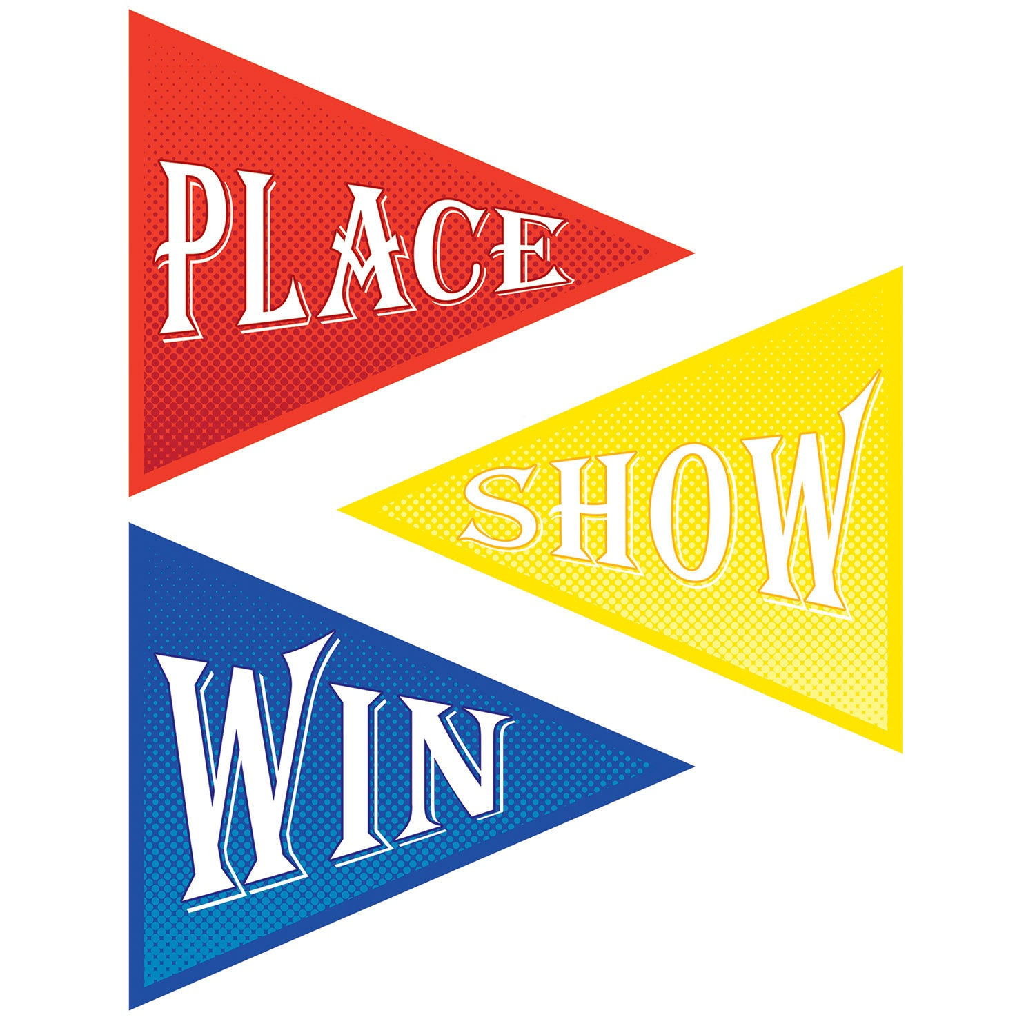 Win, Place & Show Cutouts (3/Pkg) by Beistle - Derby Day Theme Decorations