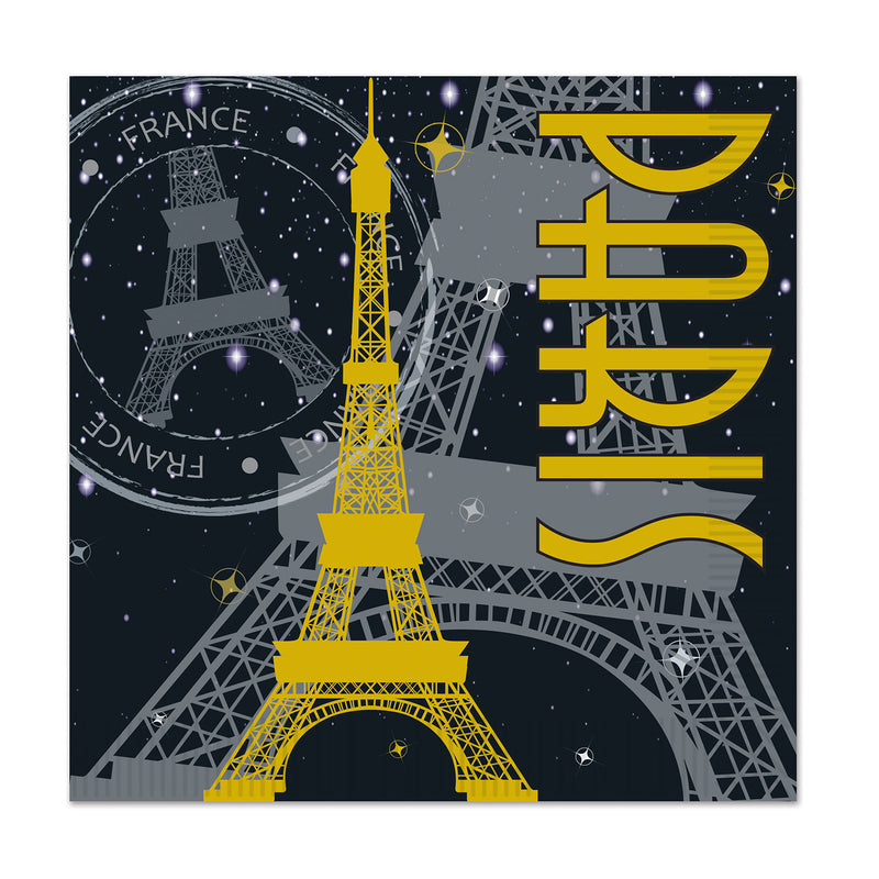 Paris Beverage Napkins (16/Pkg) by Beistle - French Theme Decorations