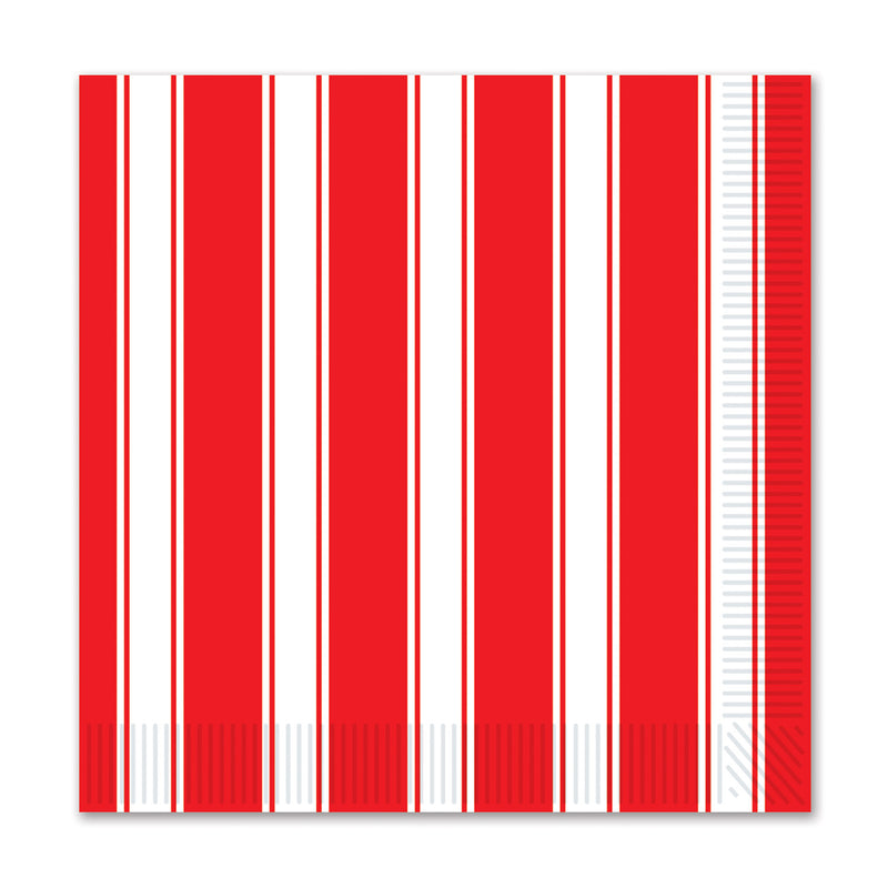 Red & White Stripes Beverage Napkins (16/Pkg) by Beistle - Circus Theme Decorations