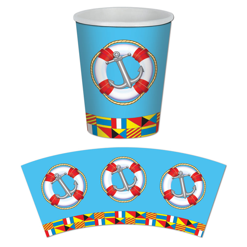 Nautical Beverage Cups (8/Pkg) by Beistle - Nautical Theme Decorations