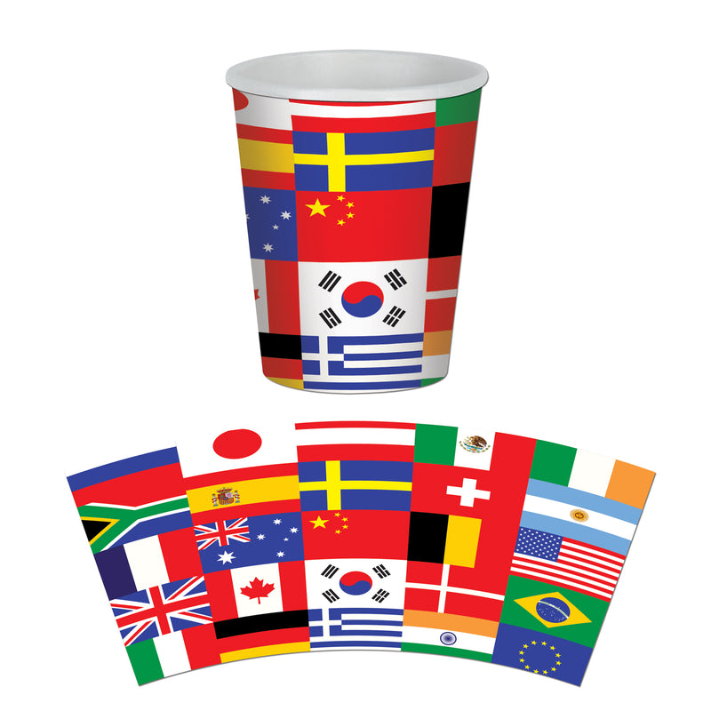 International Flag Beverage Cups (8/Pkg) by Beistle - International Theme Decorations