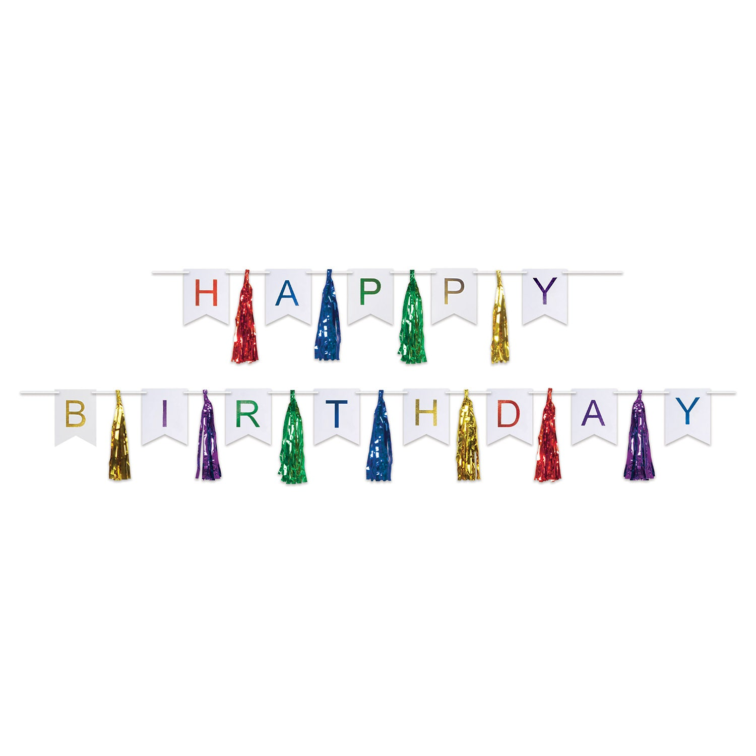 Happy Birthday Tassel Streamer (2/Pkg) by Beistle - Birthday Party Supplies Decorations