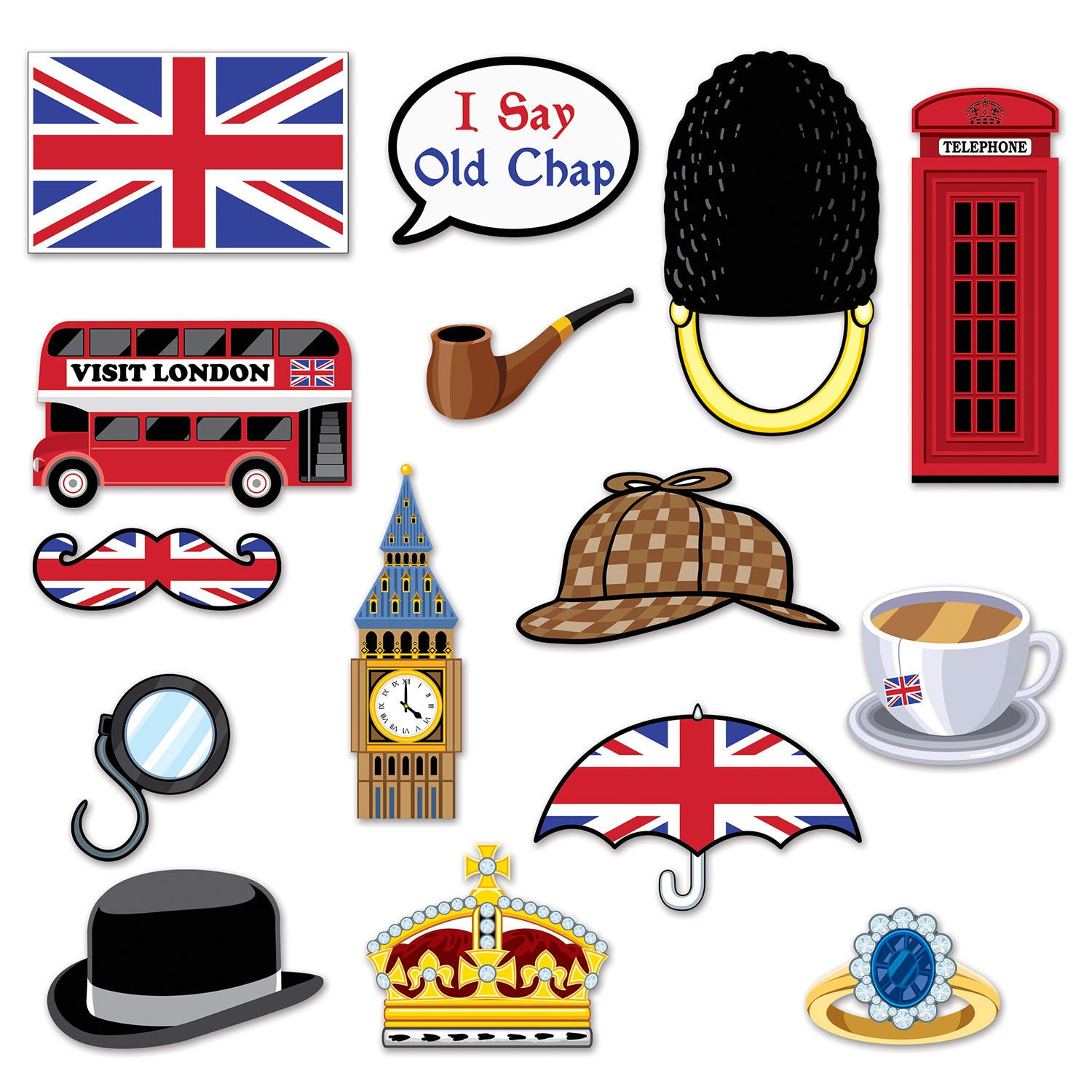 British Photo Fun Signs (15/Pkg) by Beistle - British Theme Decorations