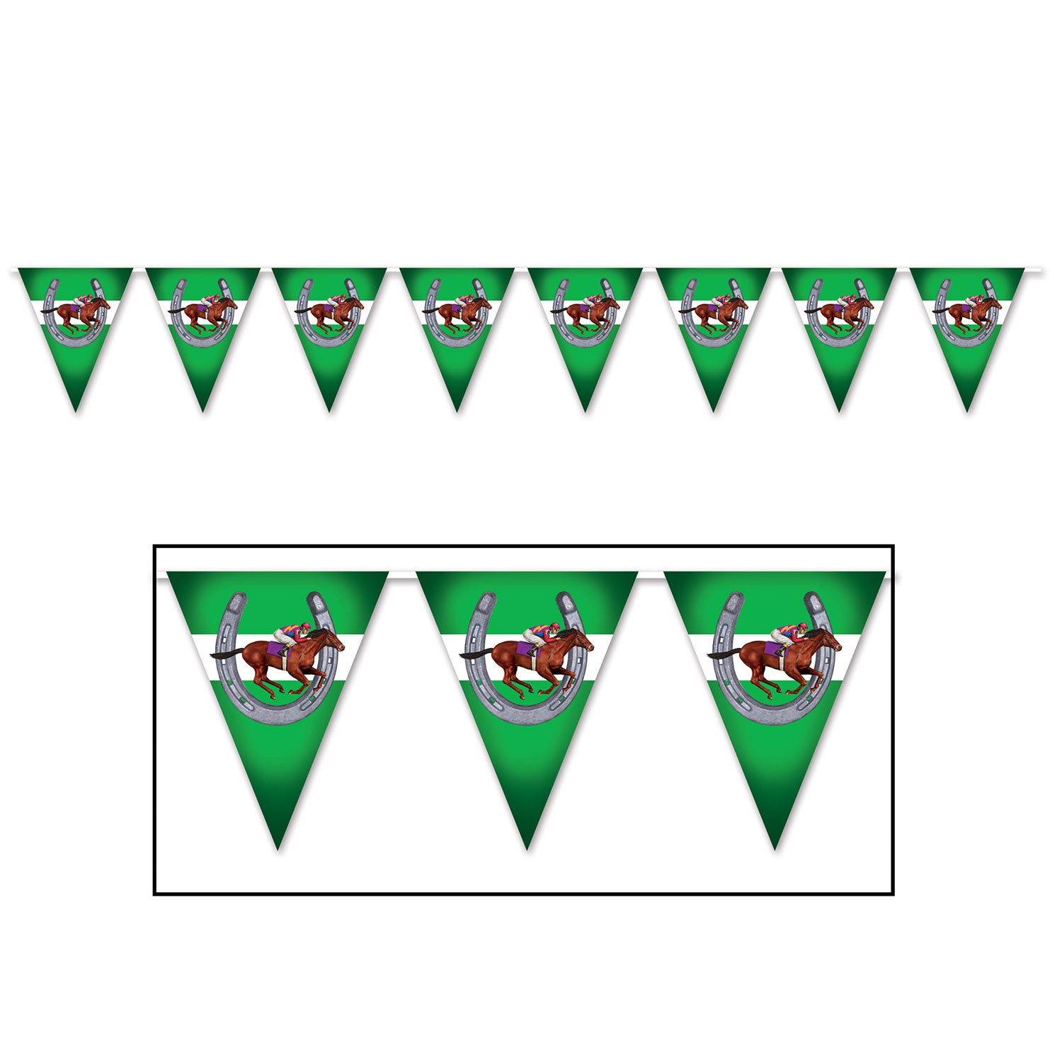 Horse Racing Pennant Banner by Beistle - Derby Day Theme Decorations
