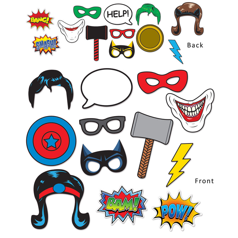 Hero Photo Fun Signs (12/Pkg) by Beistle - Heroes Theme Decorations