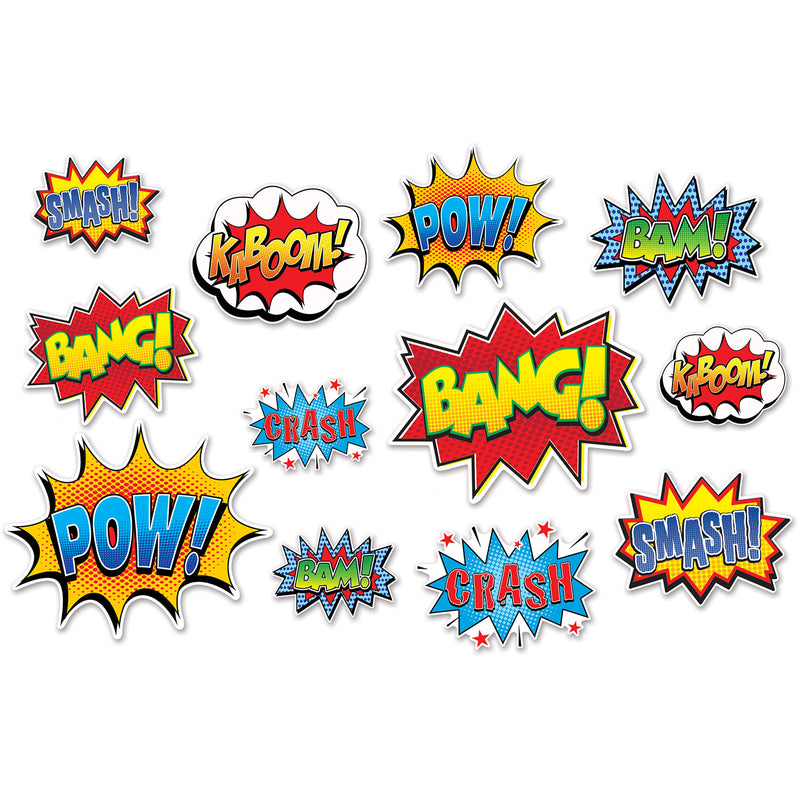 Hero Action Sign Cutouts (12/Pkg) by Beistle - Heroes Theme Decorations
