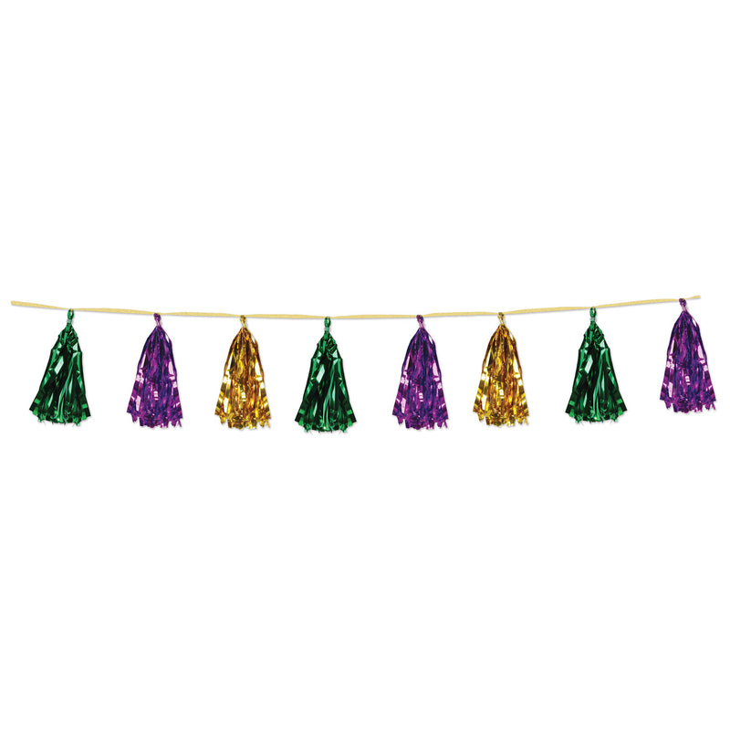 Metallic Tassel Garland, gold, green, purple by Beistle - Mardi Gras Theme Decorations