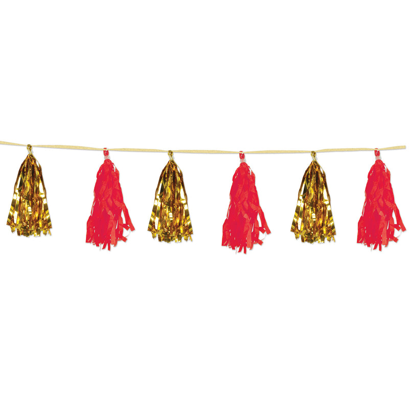 Metallic & Tissue Tassel Garland, gold & red by Beistle - Asian Theme Decorations