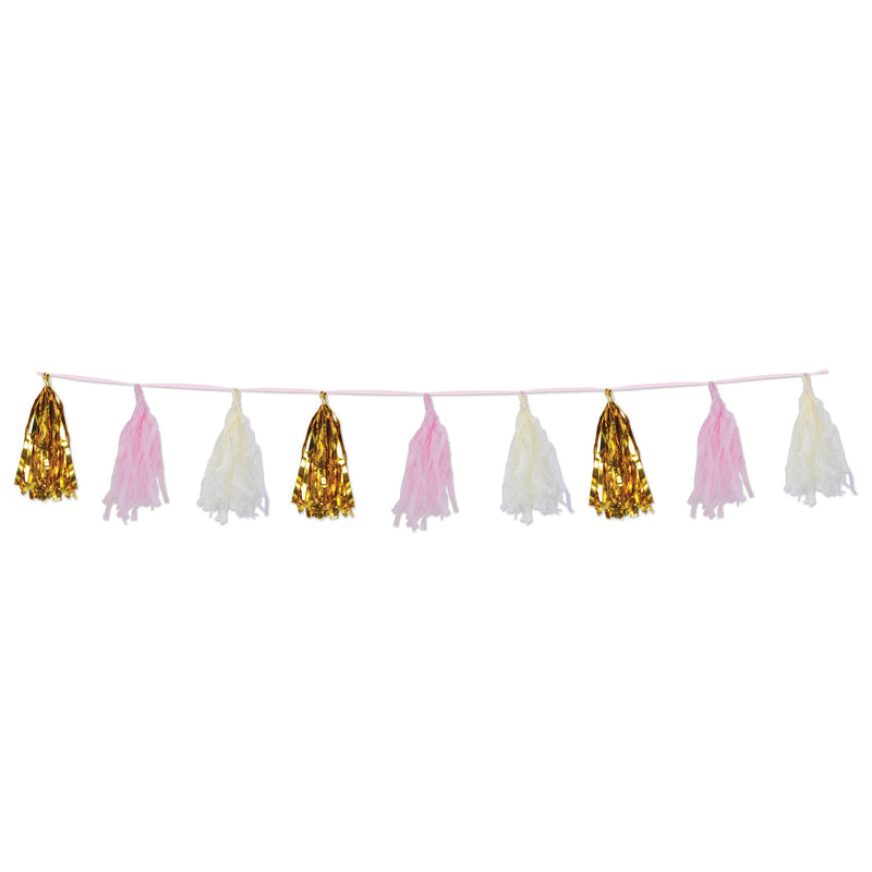 Metallic & Tissue Tassel Garland, pink by Beistle - Baby Shower Theme Decorations