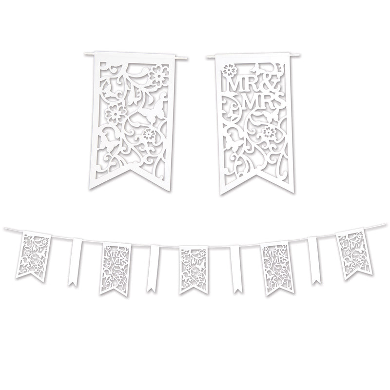 Die-Cut Mr & Mrs Pennant Banner by Beistle - Wedding Theme Decorations