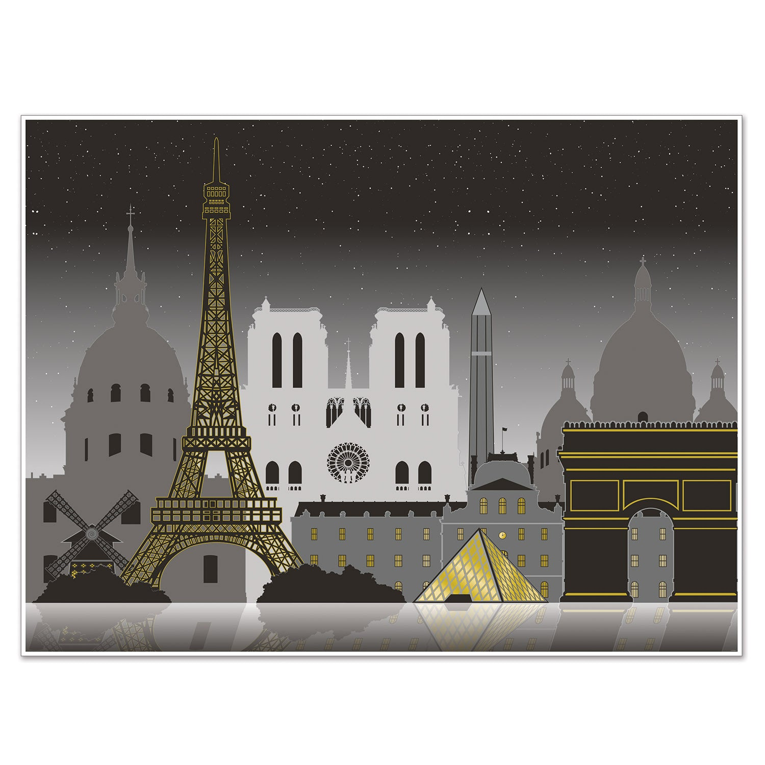 Paris Cityscape Insta-Mural by Beistle - French Theme Decorations