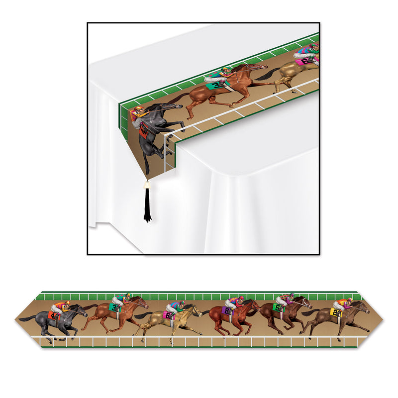 Printed Horse Racing Table Runner by Beistle - Derby Day Theme Decorations