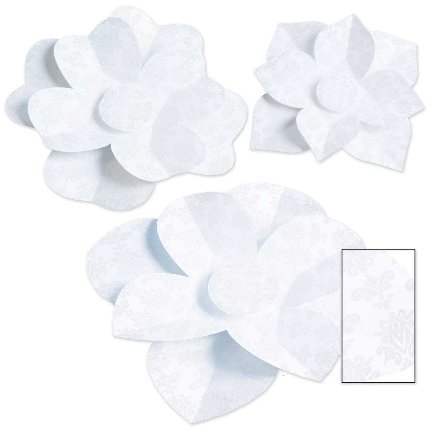 Paper Flowers (3/Pkg) by Beistle - Wedding Theme Decorations