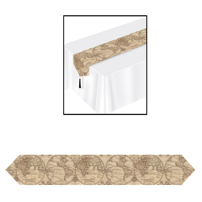 Printed Around The World Table Runner by Beistle - Around The World Theme Decorations