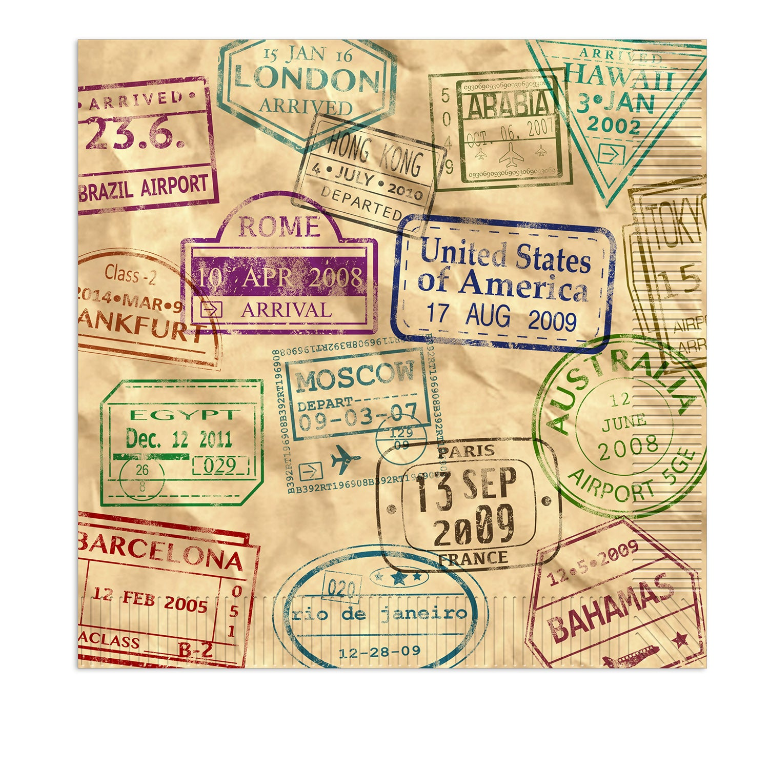 Around The World Luncheon Napkins (16/Pkg) by Beistle - Around The World Theme Decorations