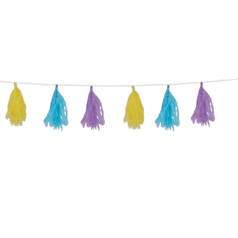 Tissue Tassel Garland, pastel--yellow, lt blue, lavender by Beistle - Easter Theme Decorations