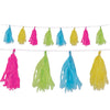 Tissue Tassel Garland, cerise, lime green, turquoise, yellow by Beistle - Luau Theme Decorations