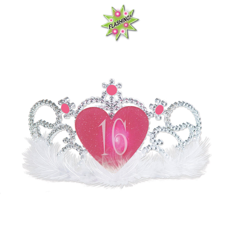 Plastic Light-Up 16 Tiara by Beistle - Sweet 16 Birthday Decorations