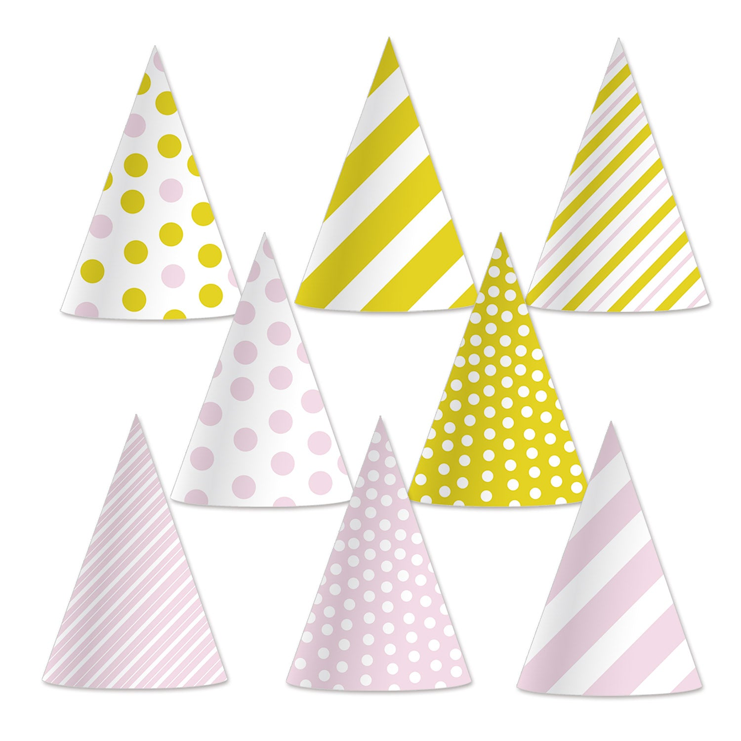 Pink & Gold Cone Hats (8/Pkg) by Beistle - Birthday Party Supplies Decorations