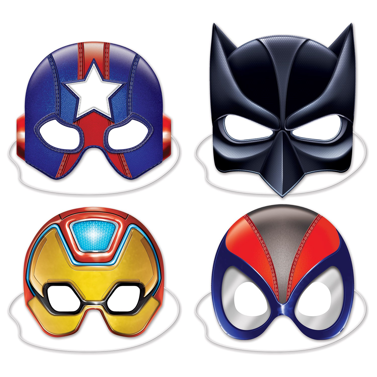 Deluxe Hero Masks (4/Pkg) by Beistle - Heroes Theme Decorations