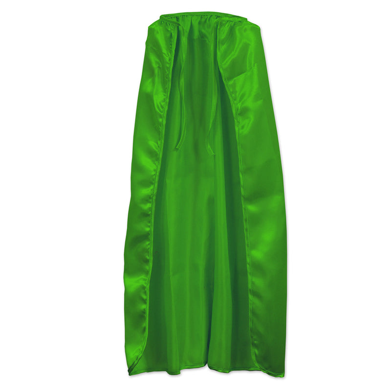 Fabric Cape, green; string-tie closure by Beistle - Heroes Theme Decorations