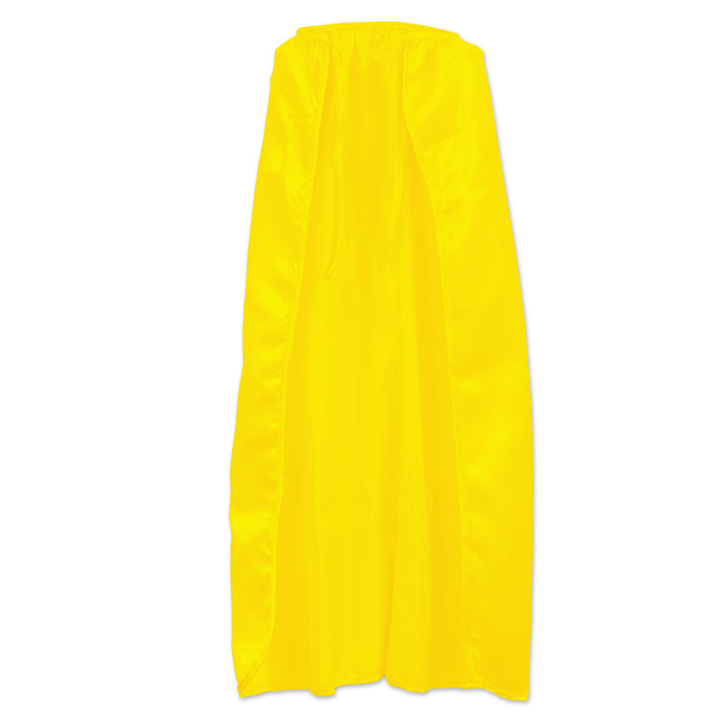 Fabric Cape, yellow; string-tie closure by Beistle - Heroes Theme Decorations