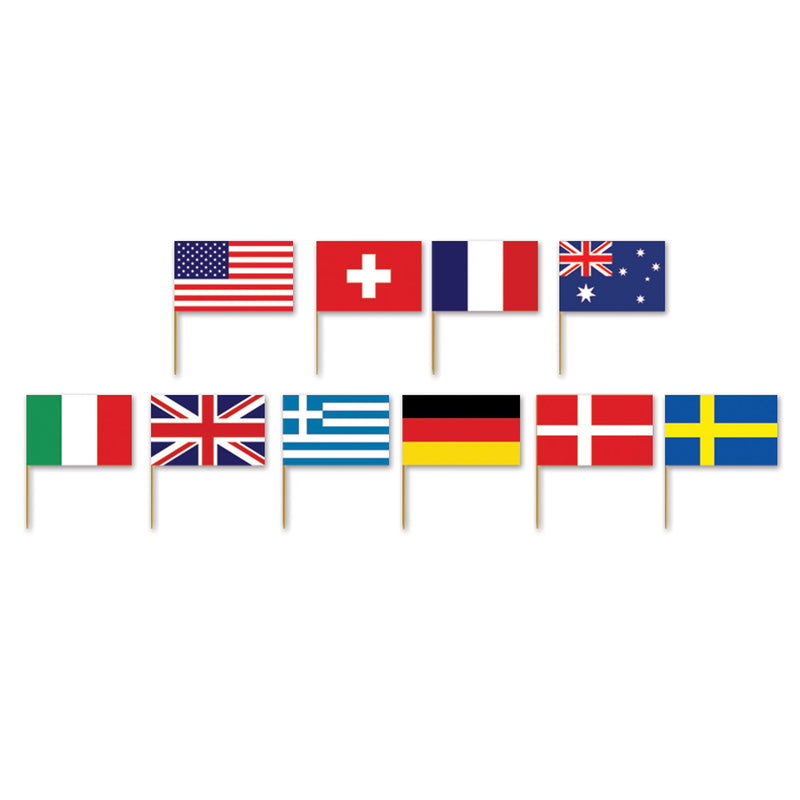 International Flag Picks (50/Pkg) by Beistle - International Theme Decorations