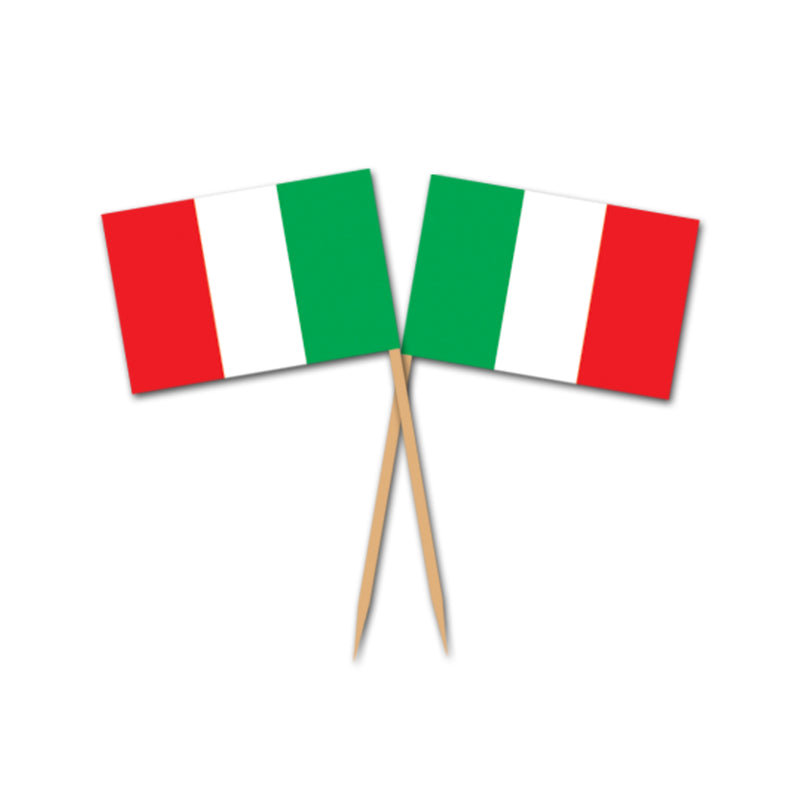 Italian Flag Picks (50/Pkg) by Beistle - Italian Theme Decorations