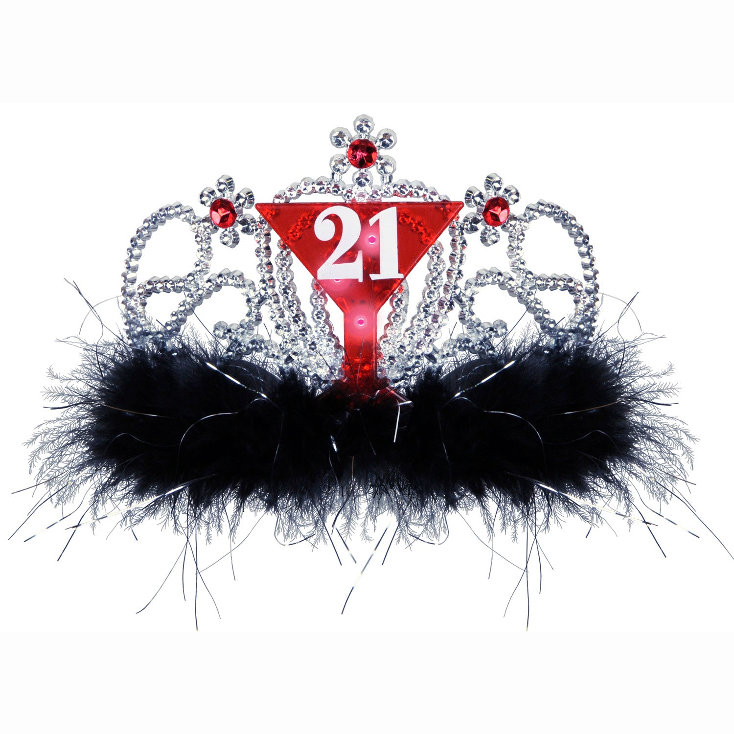 Plastic Light-Up 21 Tiara by Beistle - 21st Birthday Theme Decorations