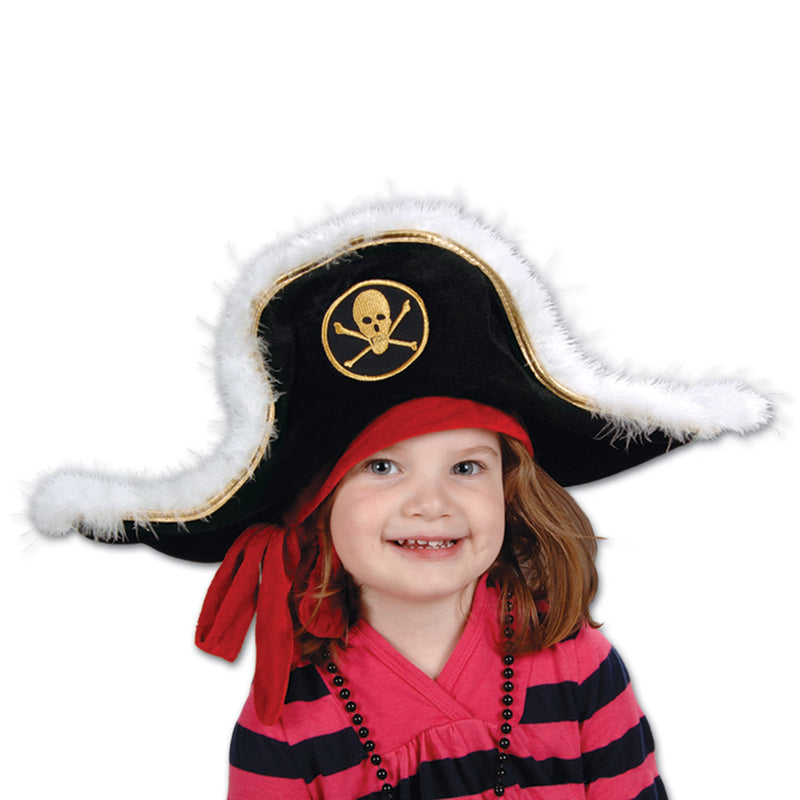 Child Plush Pirate Captain's Hat by Beistle - Pirate Theme Decorations