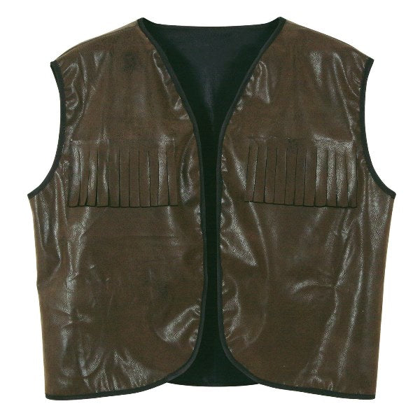 Faux Brown Leather Cowboy Vest w/Fringe by Beistle - Western Theme Decorations