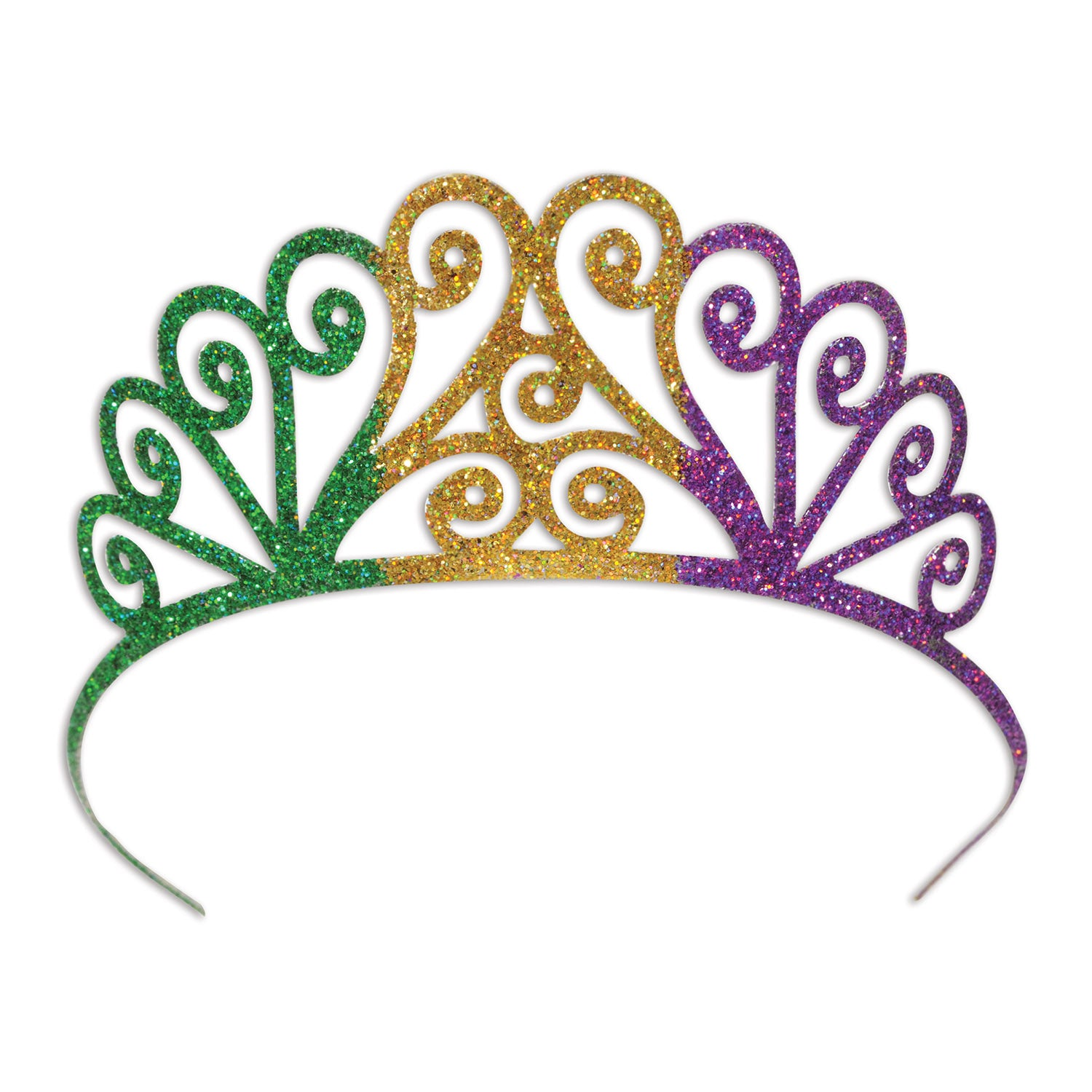 Glittered Metal Mardi Gras Tiara by Beistle - Mardi Gras Theme Decorations