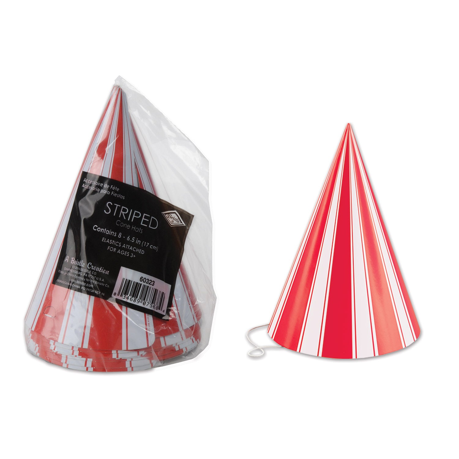 Packaged Striped Cone Hats (8/Pkg) by Beistle - Circus Theme Decorations