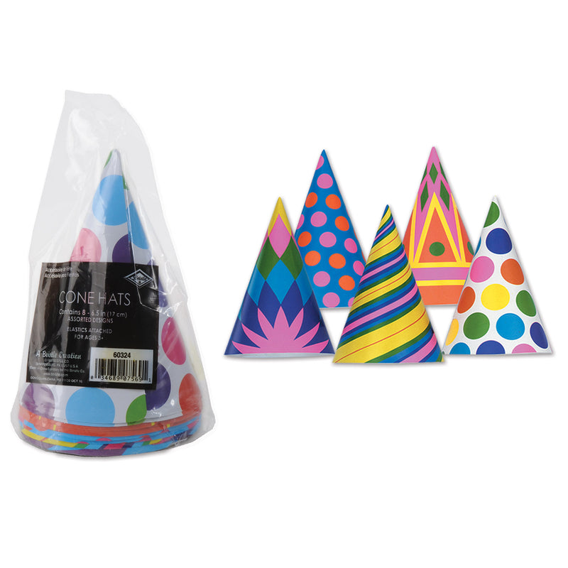 Packaged Cone Hats (8/Pkg) by Beistle - Birthday Party Supplies Decorations