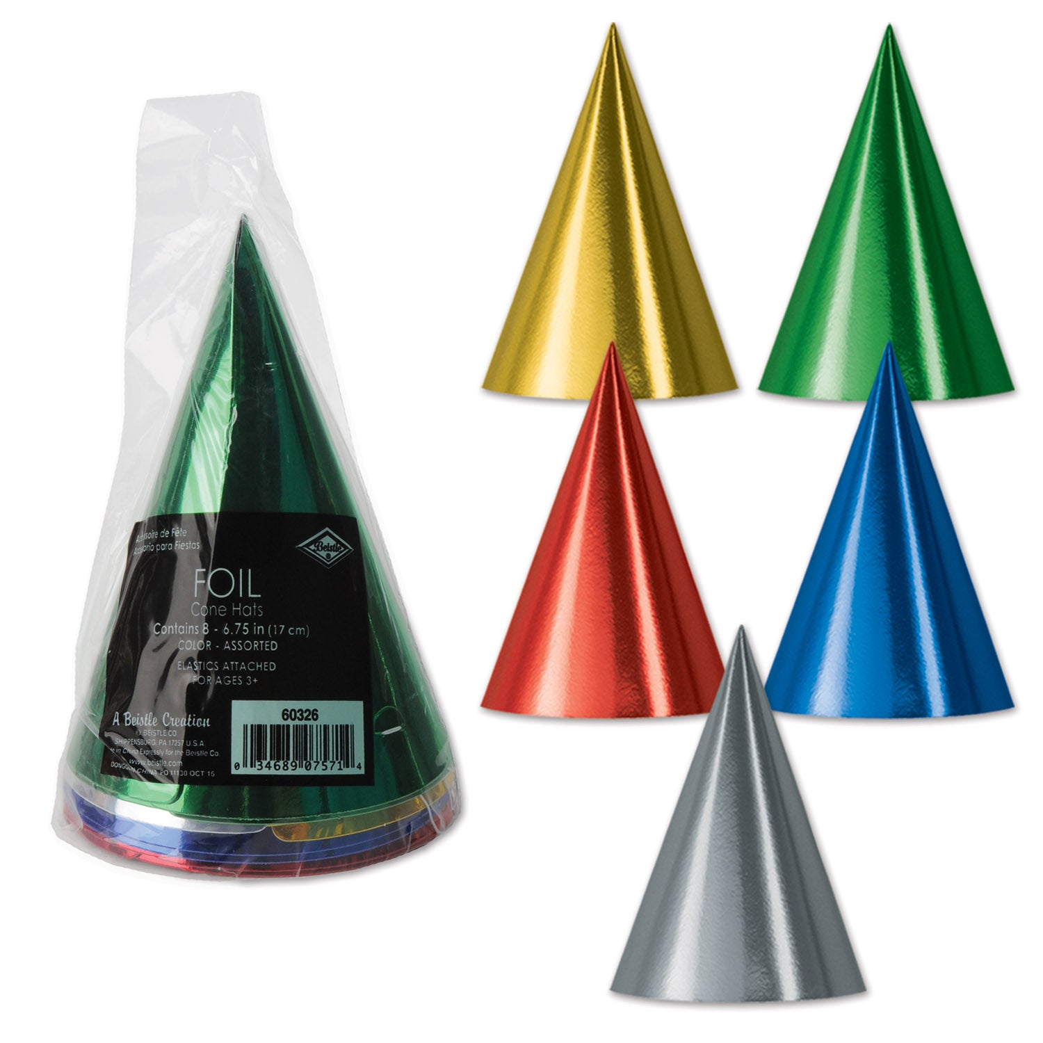 Packaged Foil Cone Hats (8/Pkg) by Beistle - Birthday Party Supplies Decorations