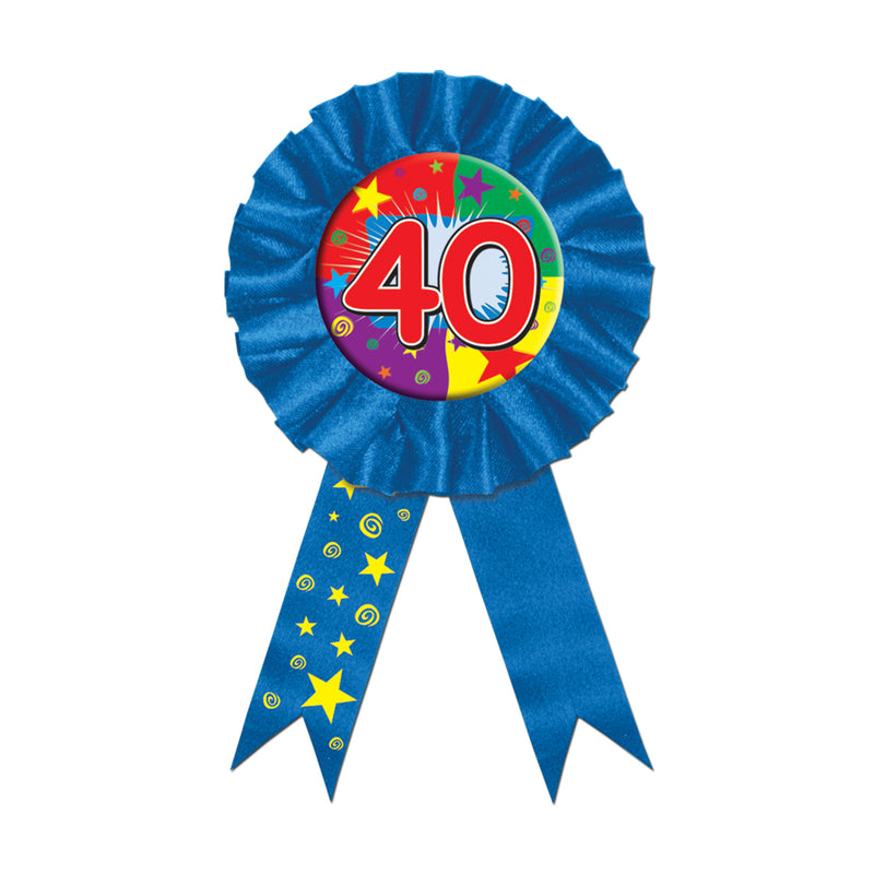 40 Award Ribbon by Beistle - 40th Birthday Party Decorations
