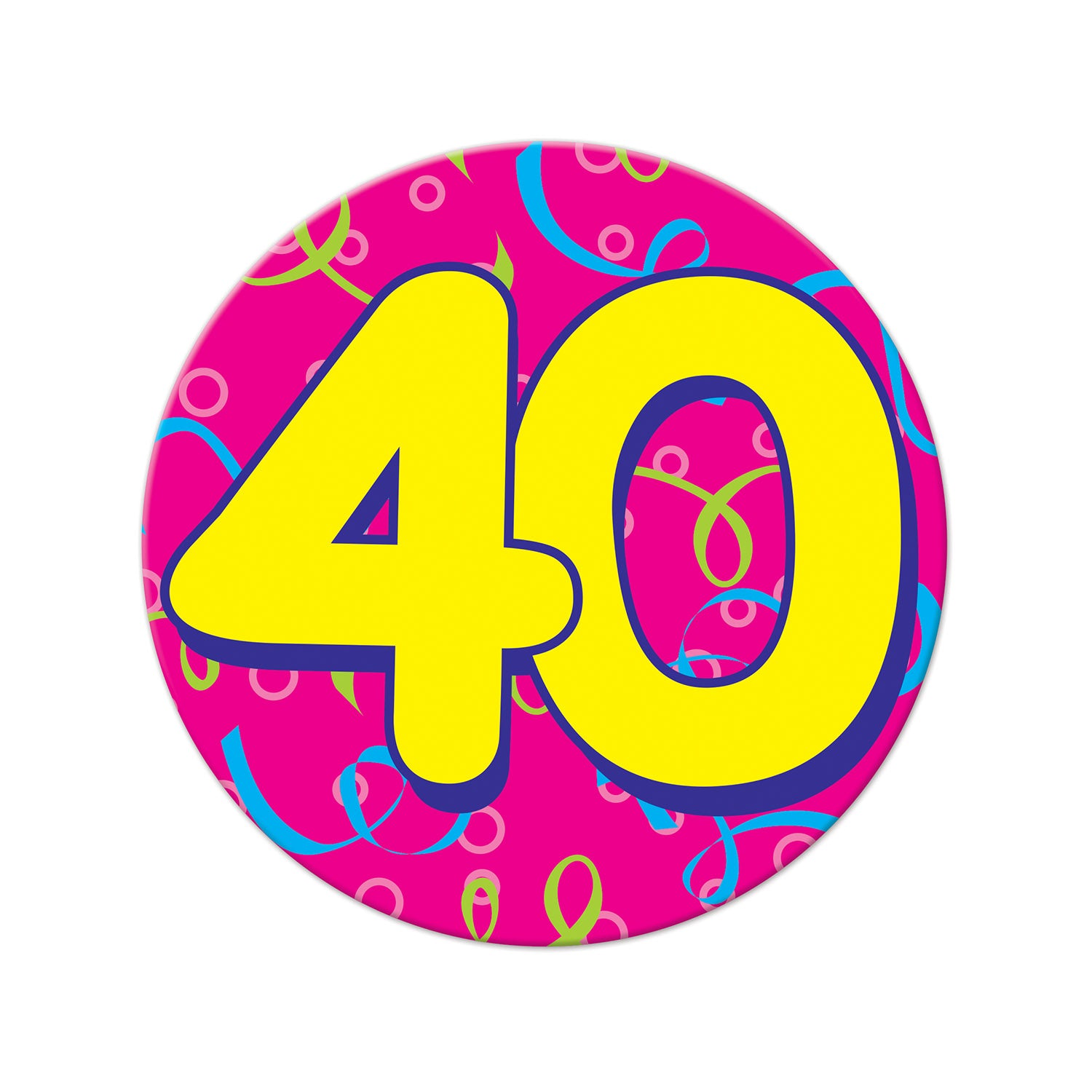 Jumbo 40 Button by Beistle - 40th Birthday Party Decorations