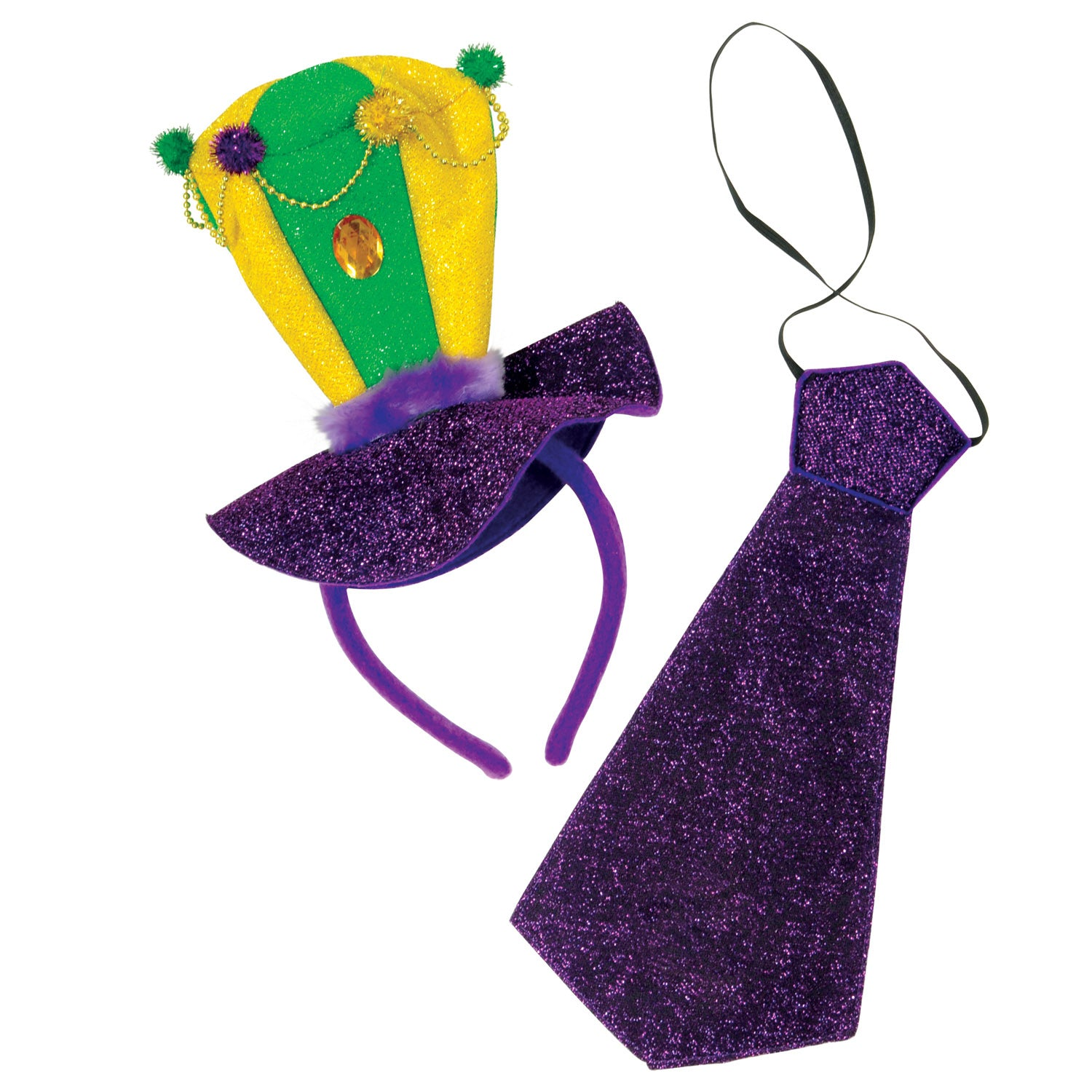 Mardi Gras Headband & Necktie Set by Beistle - Mardi Gras Theme Decorations