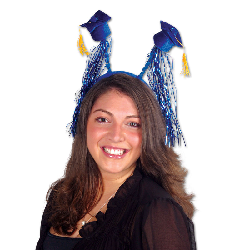 Grad Cap w/Fringe Boppers, blue by Beistle - Graduation Theme Decorations