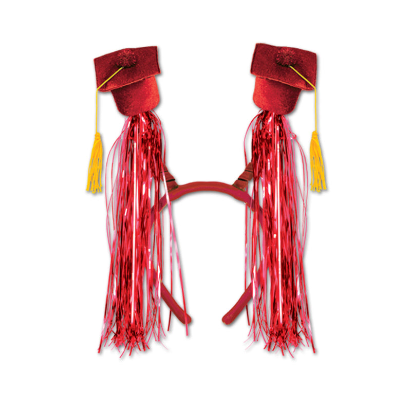 Grad Cap w/Fringe Boppers, red by Beistle - Graduation Theme Decorations
