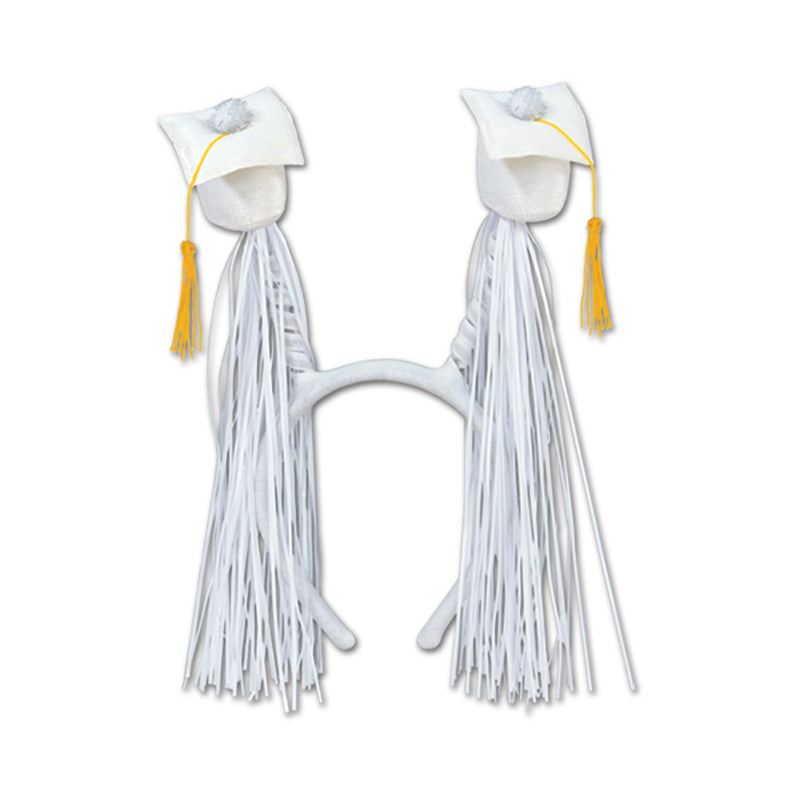 Grad Cap w/Fringe Boppers, white by Beistle - Graduation Theme Decorations